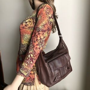 Medium Size Fossil Brown Leather Shoulder Bag